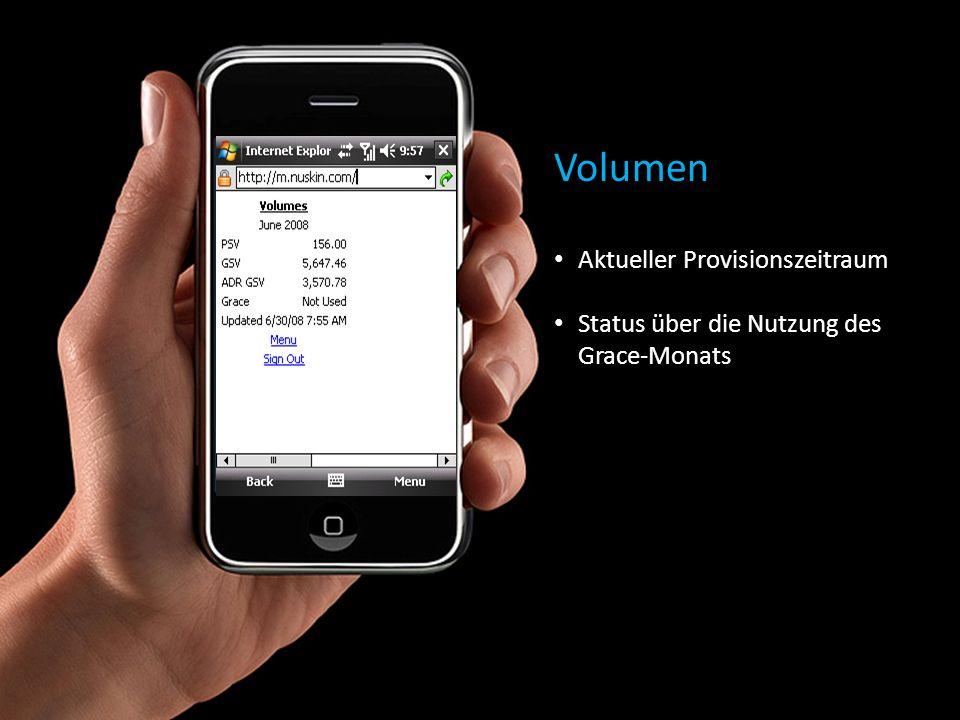 Volumen Aktueller Provisionszeitraum Status über die Nutzung des Grace-Monats