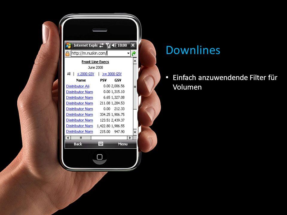 Downlines Einfach anzuwendende Filter für Volumen
