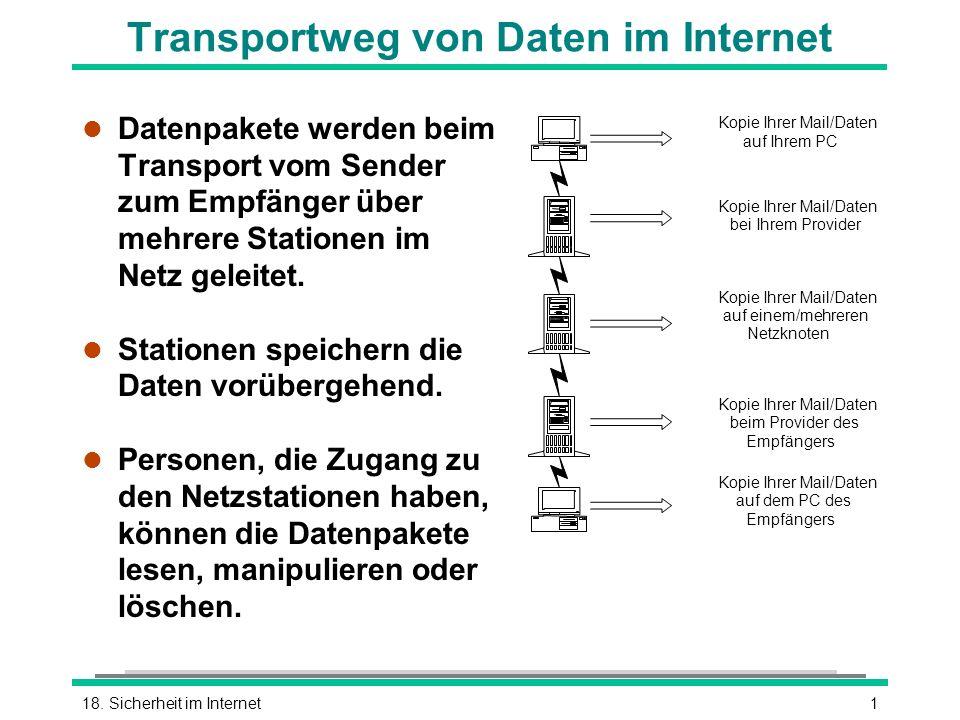 118. Sicherheit im Internet Transportweg von Daten im Internet l Datenpakete werden beim Transport vom Sender zum Empfänger über mehrere Stationen im