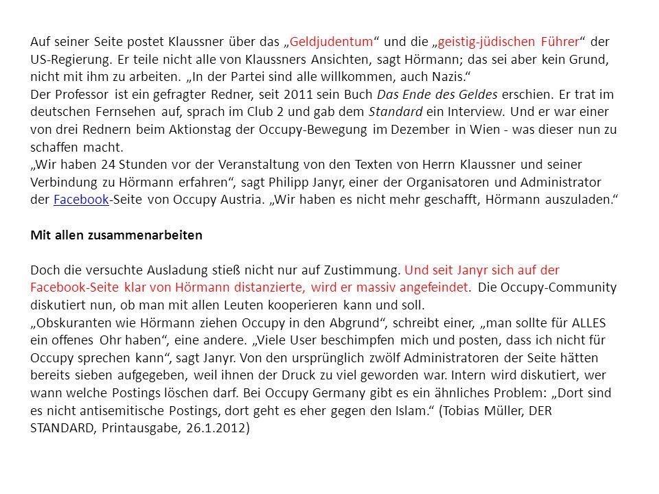 Auf seiner Seite postet Klaussner über das Geldjudentum und die geistig-jüdischen Führer der US-Regierung.