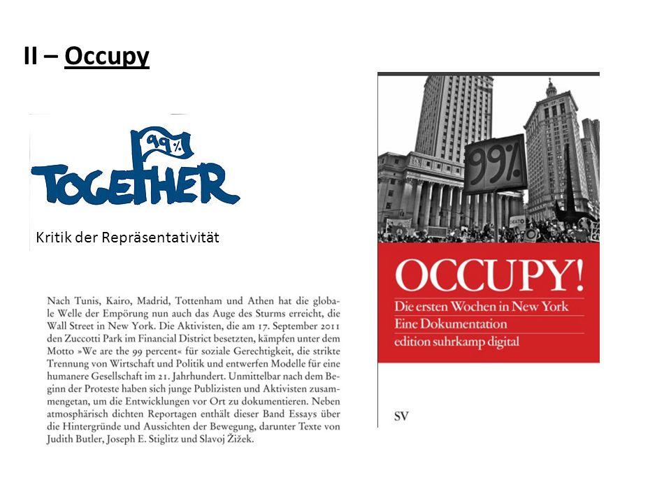 II – Occupy Kritik der Repräsentativität