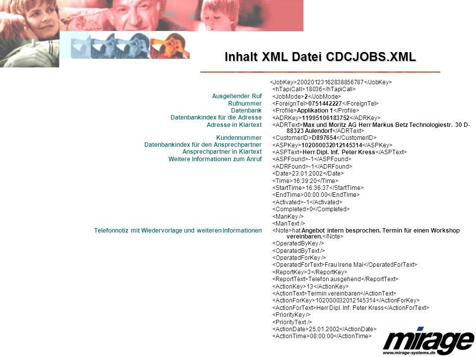 Inhalt XML Datei CDCJOBS.XML Ausgehender Ruf Rufnummer Datenbank Datenbankindex für die Adresse Adresse in Klartext Kundennummer Datenbankindex für de