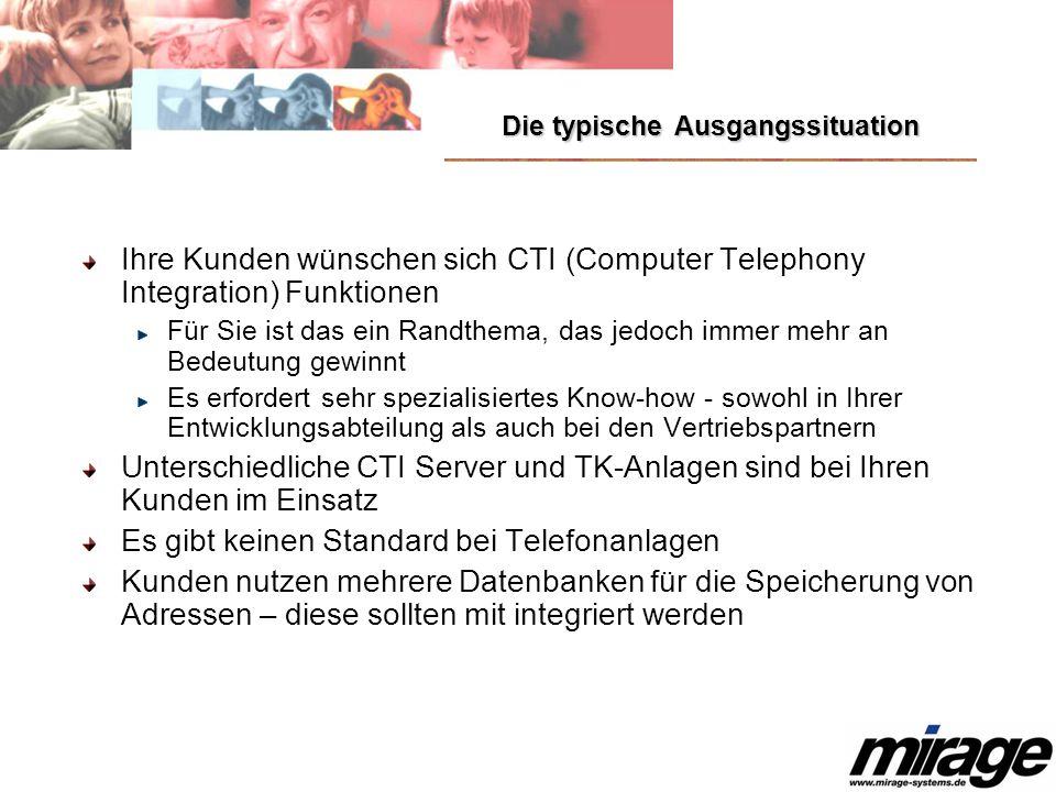 Die typische Ausgangssituation Ihre Kunden wünschen sich CTI (Computer Telephony Integration) Funktionen Für Sie ist das ein Randthema, das jedoch imm