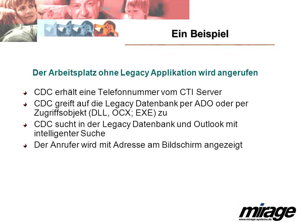 Ein Beispiel Der Arbeitsplatz ohne Legacy Applikation wird angerufen CDC erhält eine Telefonnummer vom CTI Server CDC greift auf die Legacy Datenbank