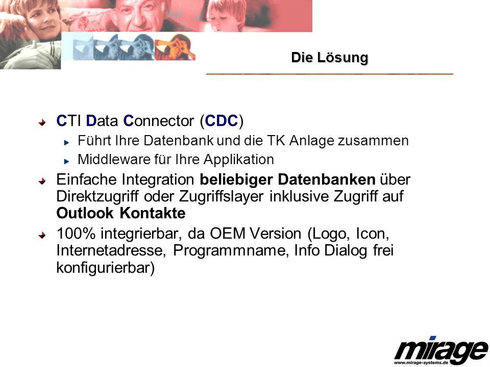 Die Lösung CTI Data Connector (CDC) Führt Ihre Datenbank und die TK Anlage zusammen Middleware für Ihre Applikation Einfache Integration beliebiger Da