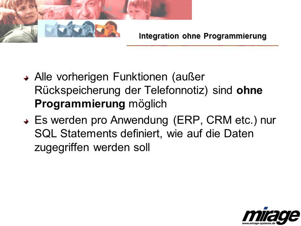 Integration ohne Programmierung Alle vorherigen Funktionen (außer Rückspeicherung der Telefonnotiz) sind ohne Programmierung möglich Es werden pro Anw