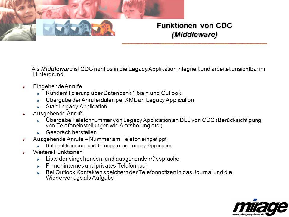 Funktionen von CDC (Middleware) Als Middleware ist CDC nahtlos in die Legacy Applikation integriert und arbeitet unsichtbar im Hintergrund Eingehende