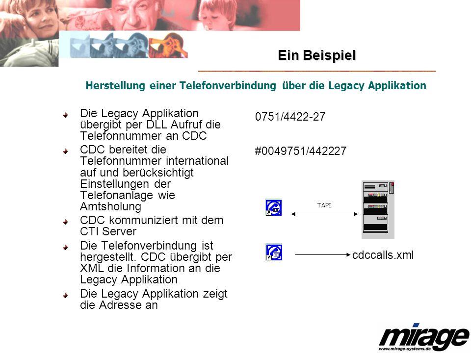 Ein Beispiel Die Legacy Applikation übergibt per DLL Aufruf die Telefonnummer an CDC CDC bereitet die Telefonnummer international auf und berücksichti