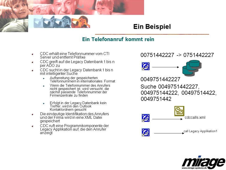 Ein Beispiel CDC erhält eine Telefonnummer vom CTI Server und entfernt Präfixe CDC greift auf die Legacy Datenbank 1 bis n per ADO zu CDC sucht in der