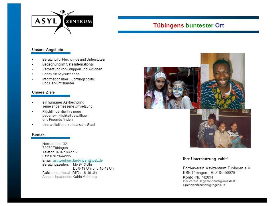 Unsere Angebote Beratung für Flüchtlinge und Unterstützer Begegnung im Café International Vernetzung von Gruppen und Aktionen Lobby für Asylsuchende I