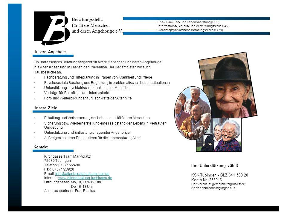 Unsere Angebote Ein umfassendes Beratungsangebot für ältere Menschen und deren Angehörige in akuten Krisen und in Fragen der Prävention. Bei Bedarf bi