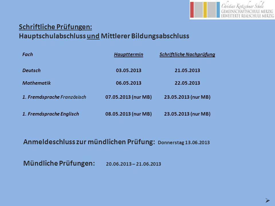 FachHauptterminSchriftliche Nachprüfung Deutsch03.05.201321.05.2013 Mathematik06.05.201322.05.2013 1. Fremdsprache Französisch07.05.2013 (nur MB)23.05