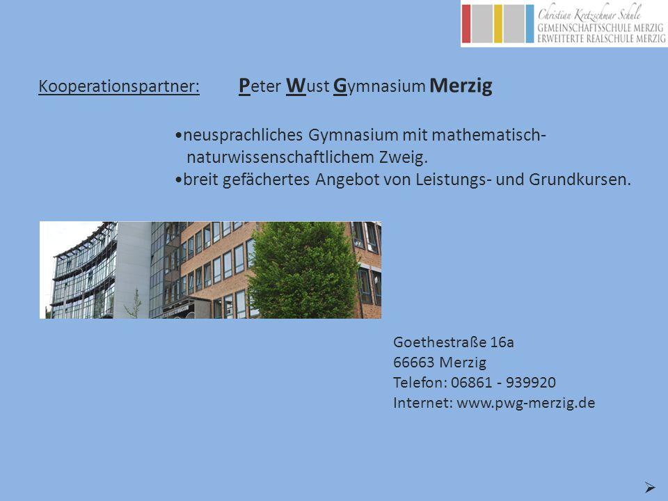 Kooperationspartner: P eter W ust G ymnasium Merzig Goethestraße 16a 66663 Merzig Telefon: 06861 - 939920 Internet: www.pwg-merzig.de neusprachliches