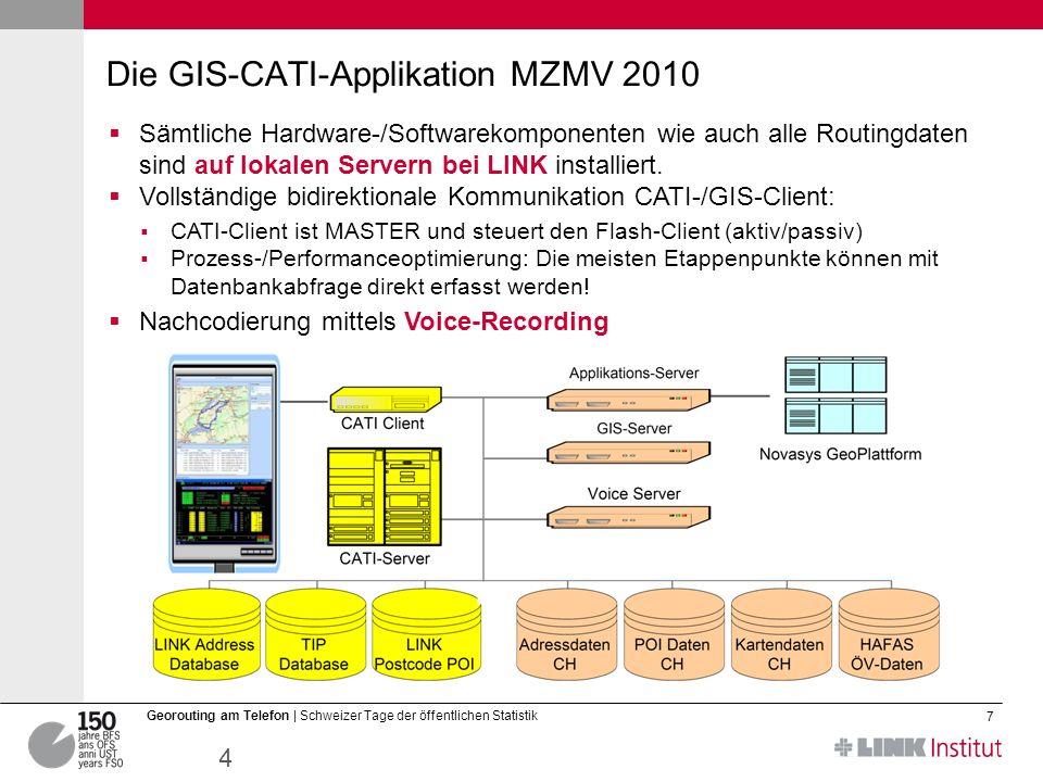 12.03.2014 7 Georouting am Telefon | Schweizer Tage der öffentlichen Statistik Die GIS-CATI-Applikation MZMV 2010 Sämtliche Hardware-/Softwarekomponenten wie auch alle Routingdaten sind auf lokalen Servern bei LINK installiert.