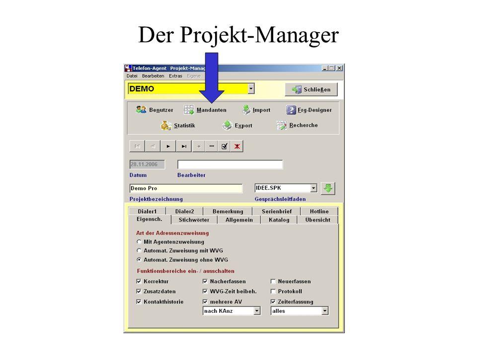Dieses Programm ist speziell entwickelt und getestet worden für den Einsatz in Call - Centern, die mit ständig wechselnden Projekten konfrontiert werd