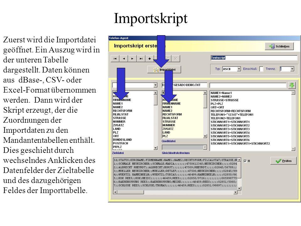 Datenimport Der Datenimport erfolgt immer zweistufig. Zuerst wird ein Importskript erstellt. Diese Skripte stehen für spätere Importprozesse zur Verfü