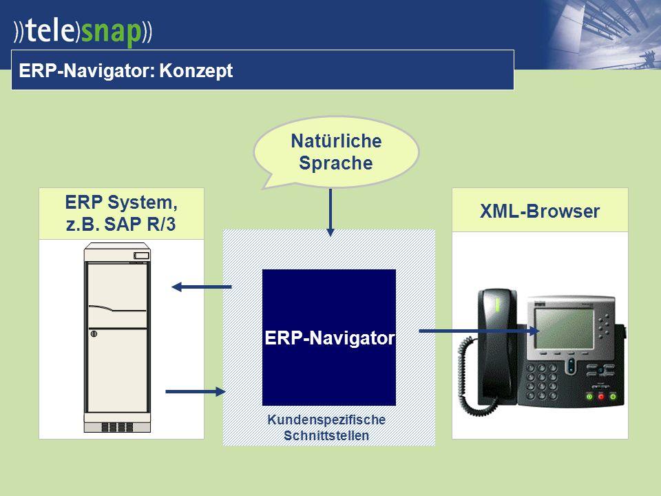 ERP-Navigator: Konzept ERP-Navigator Kundenspezifische Schnittstellen XML-Browser Natürliche Sprache ERP System, z.B.