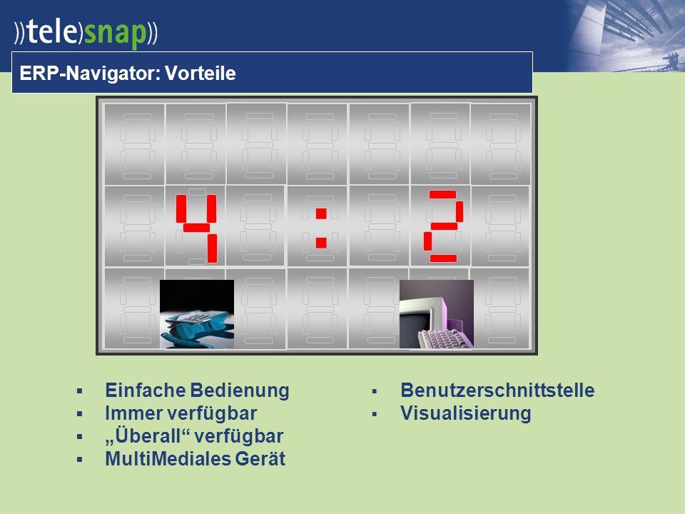 ERP-Navigator: Vorteile Einfache Bedienung Immer verfügbar Überall verfügbar MultiMediales Gerät Benutzerschnittstelle Visualisierung