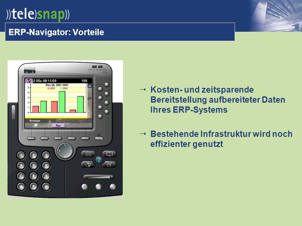 ERP-Navigator: Vorteile Kosten- und zeitsparende Bereitstellung aufbereiteter Daten Ihres ERP-Systems Bestehende Infrastruktur wird noch effizienter genutzt
