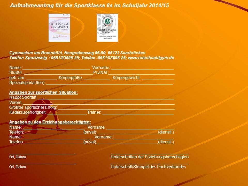 Sportartspezifische Kriterien für die sportfachliche Aufnahme bzw.