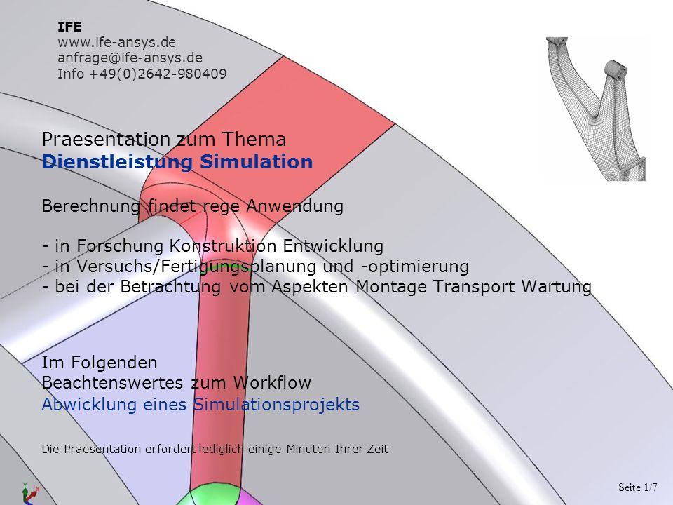 Praesentation zum Thema Dienstleistung Simulation Berechnung findet rege Anwendung - in Forschung Konstruktion Entwicklung - in Versuchs/Fertigungspla