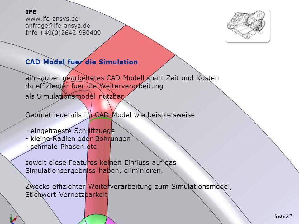 CAD Model fuer die Simulation ein sauber gearbeitetes CAD Modell spart Zeit und Kosten da effizienter fuer die Weiterverarbeitung als Simulationsmodel