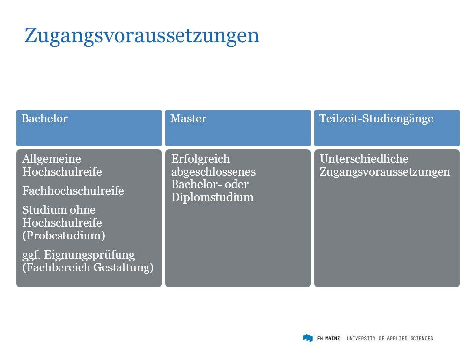 Zugangsvoraussetzungen Allgemeine Hochschulreife Fachhochschulreife Studium ohne Hochschulreife (Probestudium) ggf.