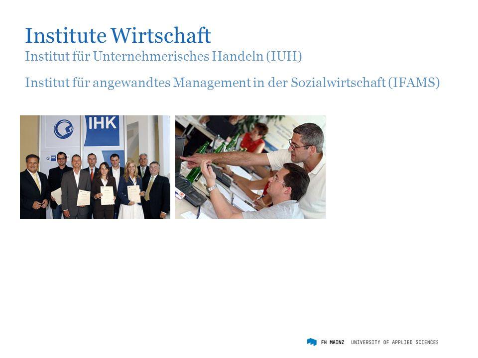 Institute Wirtschaft Institut für Unternehmerisches Handeln (IUH) Institut für angewandtes Management in der Sozialwirtschaft (IFAMS)
