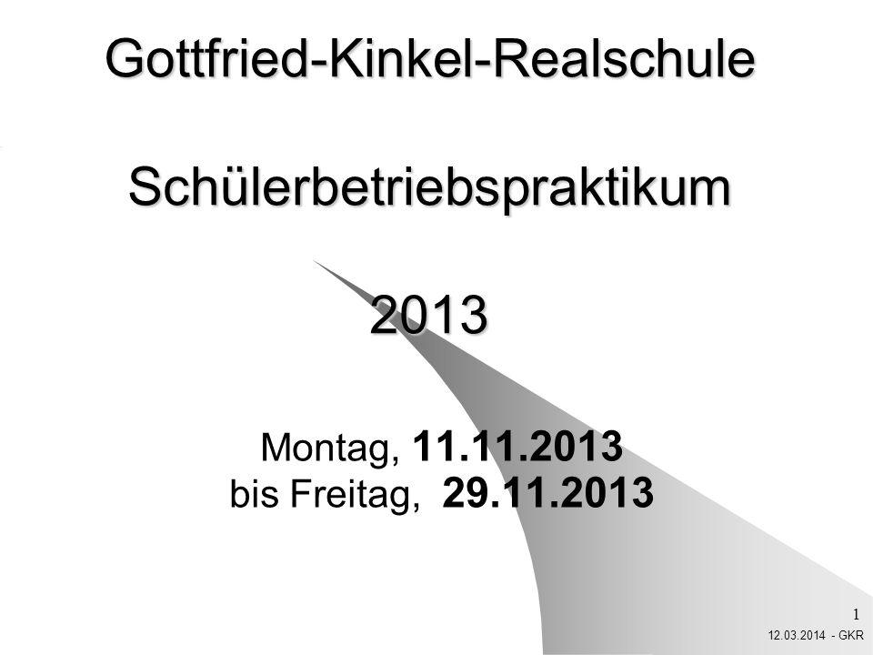12.03.2014 - GKR 12 Bedenkt: Ihr vertretet die GKR! Ihr seid Kinkelianer!