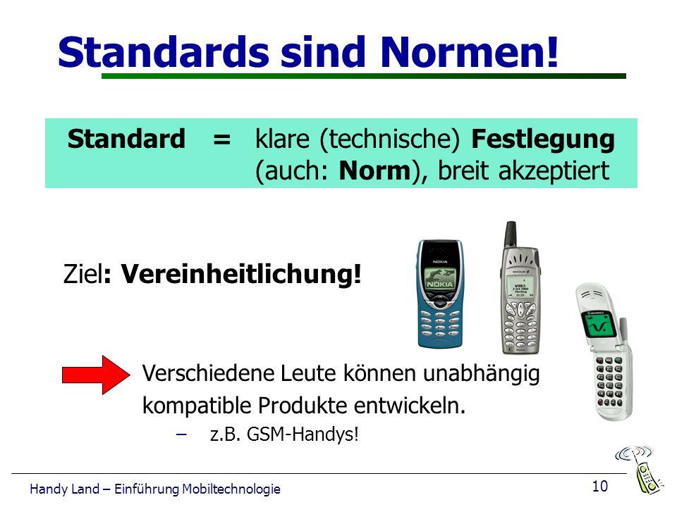 10 Handy Land – Einführung Mobiltechnologie Standards sind Normen.