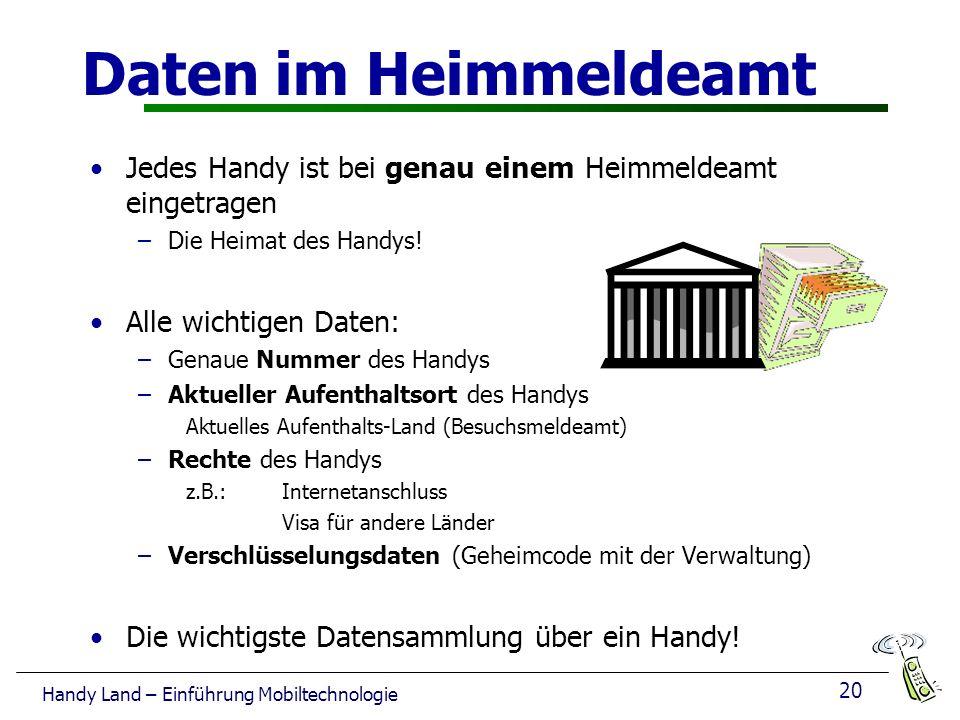 20 Handy Land – Einführung Mobiltechnologie Daten im Heimmeldeamt Jedes Handy ist bei genau einem Heimmeldeamt eingetragen –Die Heimat des Handys.