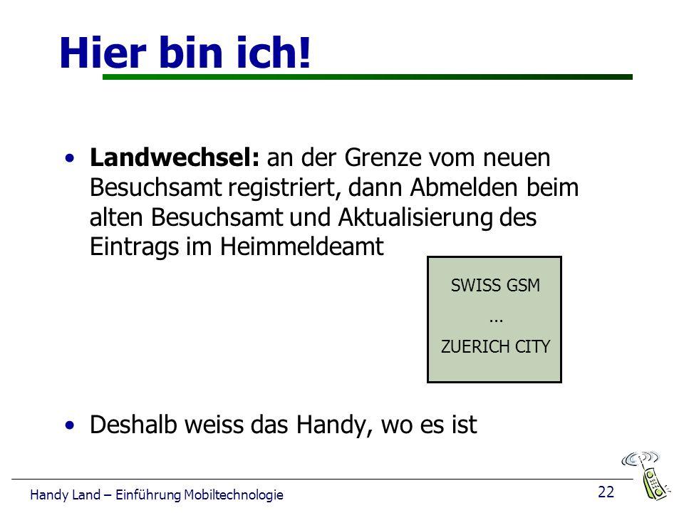22 Handy Land – Einführung Mobiltechnologie Hier bin ich.