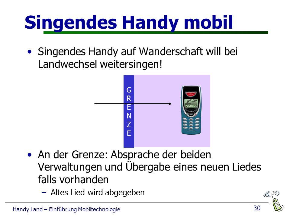 30 Handy Land – Einführung Mobiltechnologie Singendes Handy auf Wanderschaft will bei Landwechsel weitersingen.
