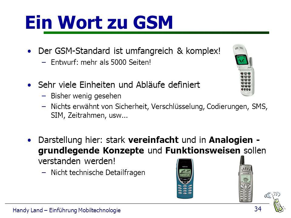34 Handy Land – Einführung Mobiltechnologie Ein Wort zu GSM Der GSM-Standard ist umfangreich & komplex.