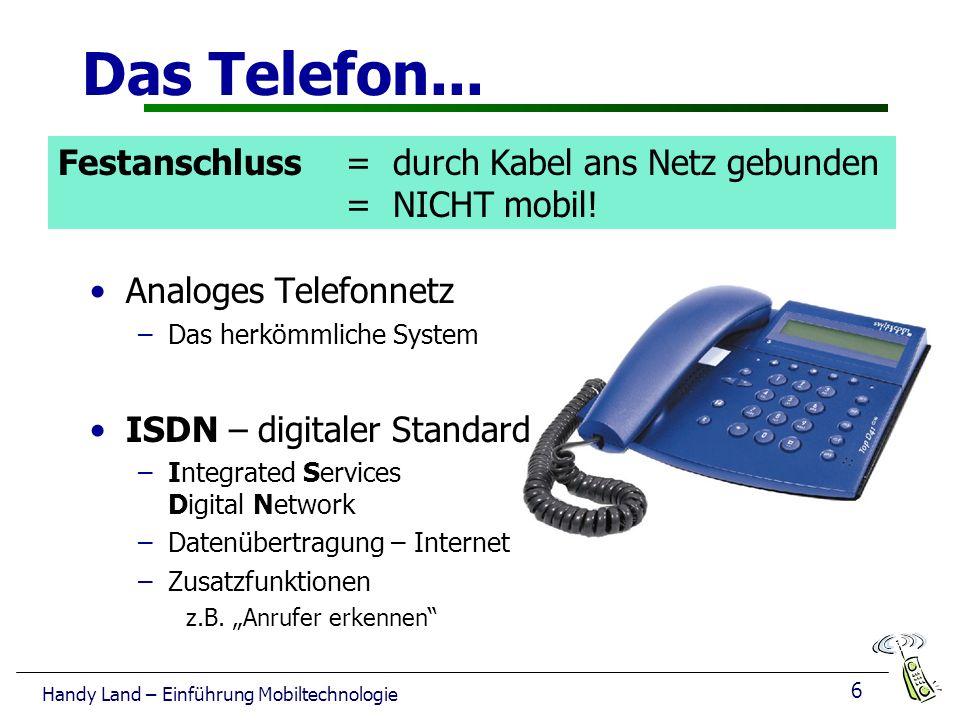 6 Handy Land – Einführung Mobiltechnologie Das Telefon...