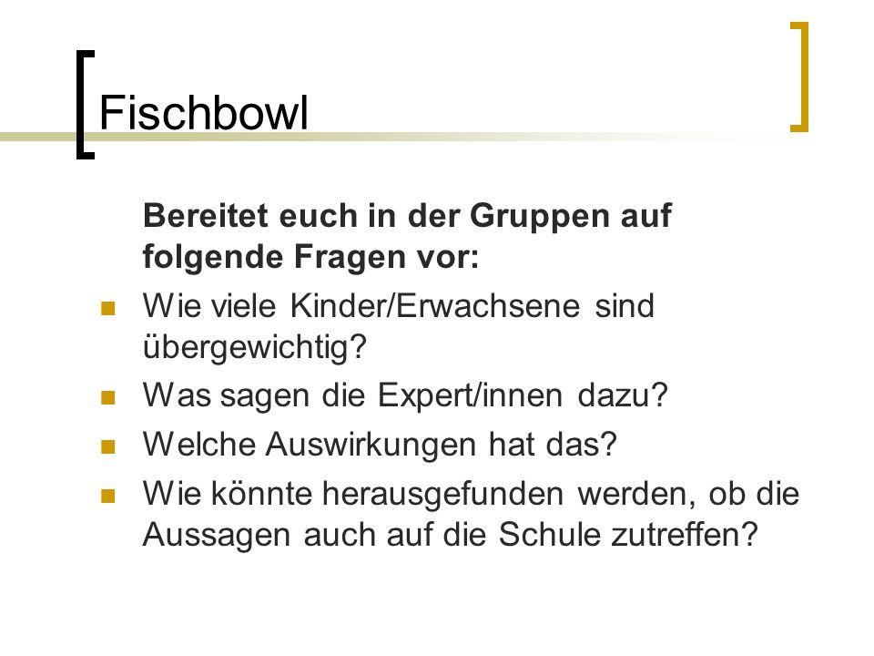 Fischbowl Bereitet euch in der Gruppen auf folgende Fragen vor: Wie viele Kinder/Erwachsene sind übergewichtig.
