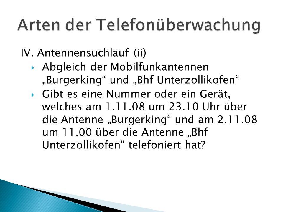 IV. Antennensuchlauf (ii) Abgleich der Mobilfunkantennen Burgerking und Bhf Unterzollikofen Gibt es eine Nummer oder ein Gerät, welches am 1.11.08 um