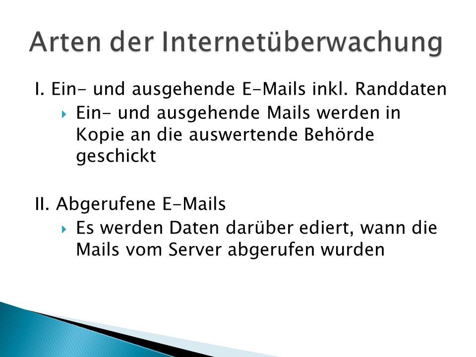 I. Ein- und ausgehende E-Mails inkl. Randdaten Ein- und ausgehende Mails werden in Kopie an die auswertende Behörde geschickt II. Abgerufene E-Mails E