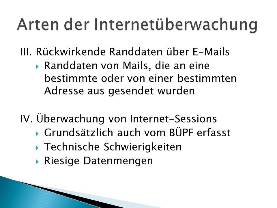 III. Rückwirkende Randdaten über E-Mails Randdaten von Mails, die an eine bestimmte oder von einer bestimmten Adresse aus gesendet wurden IV. Überwach