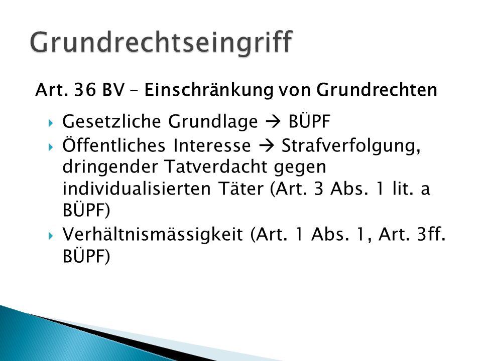 Art. 36 BV – Einschränkung von Grundrechten Gesetzliche Grundlage BÜPF Öffentliches Interesse Strafverfolgung, dringender Tatverdacht gegen individual