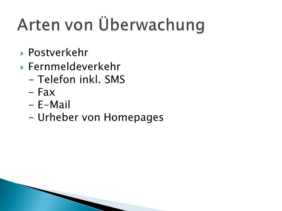 Postverkehr Fernmeldeverkehr - Telefon inkl. SMS - Fax - E-Mail - Urheber von Homepages