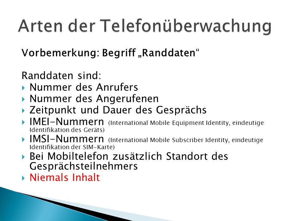 Vorbemerkung: Begriff Randdaten Randdaten sind: Nummer des Anrufers Nummer des Angerufenen Zeitpunkt und Dauer des Gesprächs IMEI-Nummern (Internation