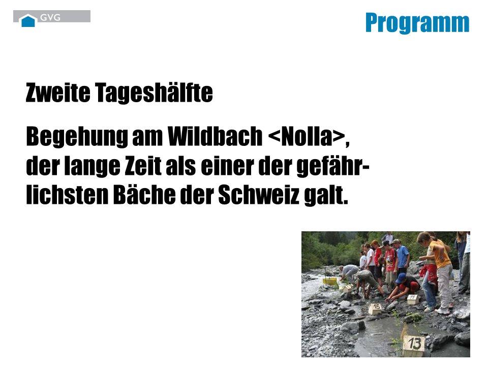 Arbeitsstationen entlang der Nolla: - Gefahrenerkennung und Verhalten - Studium von Dokumenten aus dem Archiv - Hochwasserschutzstrategie gestern/heute Die Nolla ist einer der pyritreichsten (Katzengold) Flüsse in den Alpen.