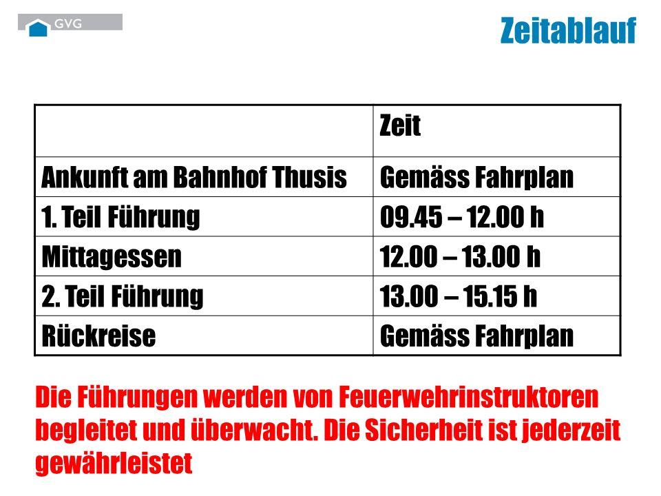 Zeitablauf Zeit Ankunft am Bahnhof ThusisGemäss Fahrplan 1. Teil Führung09.45 – 12.00 h Mittagessen12.00 – 13.00 h 2. Teil Führung13.00 – 15.15 h Rück