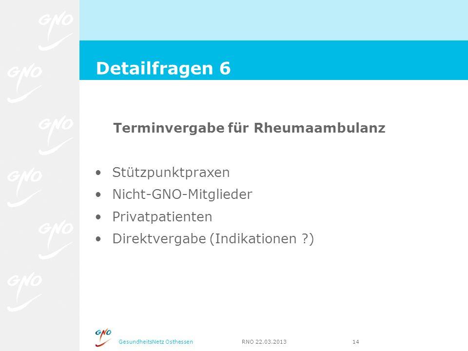 GesundheitsNetz Osthessen RNO 22.03.2013 14 Terminvergabe für Rheumaambulanz Stützpunktpraxen Nicht-GNO-Mitglieder Privatpatienten Direktvergabe (Indi