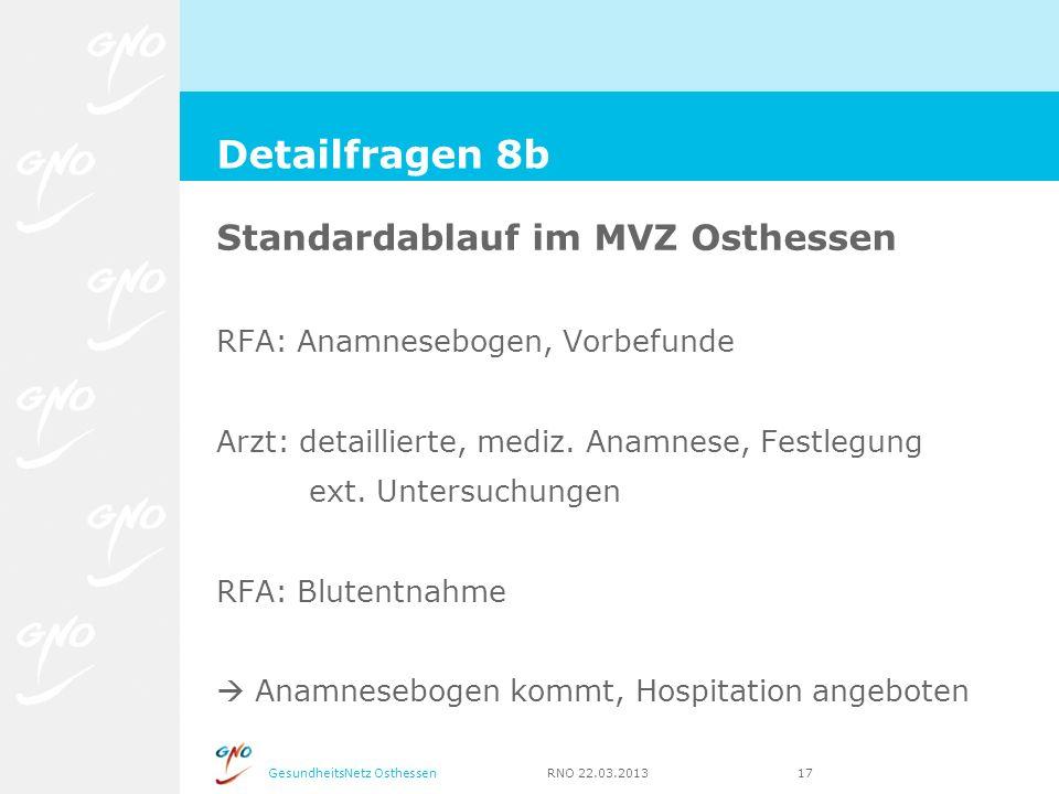 GesundheitsNetz Osthessen RNO 22.03.2013 17 Standardablauf im MVZ Osthessen RFA: Anamnesebogen, Vorbefunde Arzt: detaillierte, mediz. Anamnese, Festle