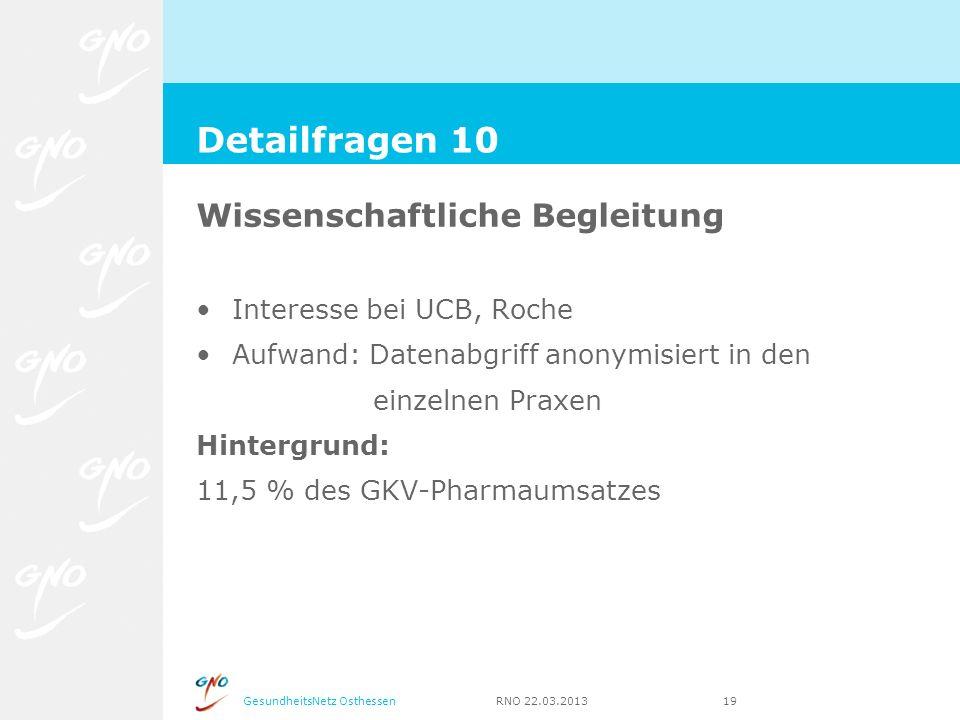 GesundheitsNetz Osthessen RNO 22.03.2013 19 Wissenschaftliche Begleitung Interesse bei UCB, Roche Aufwand: Datenabgriff anonymisiert in den einzelnen