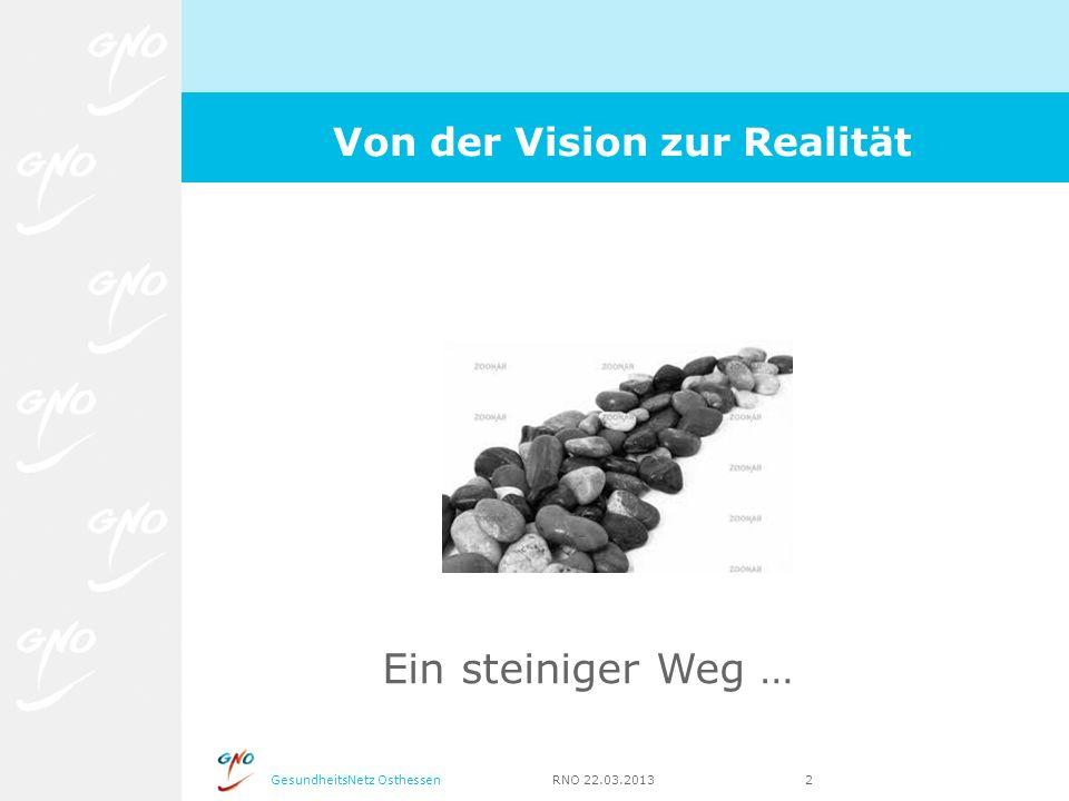 GesundheitsNetz Osthessen RNO 22.03.2013 2 Von der Vision zur Realität Ein steiniger Weg …