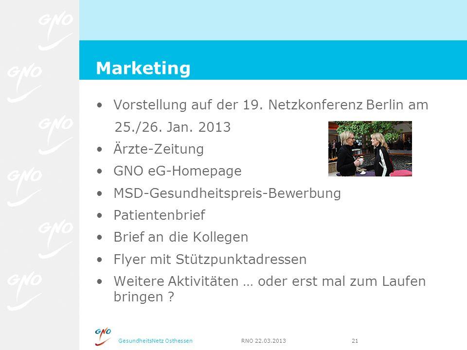 GesundheitsNetz Osthessen RNO 22.03.2013 21 Vorstellung auf der 19. Netzkonferenz Berlin am 25./26. Jan. 2013 Ärzte-Zeitung GNO eG-Homepage MSD-Gesund