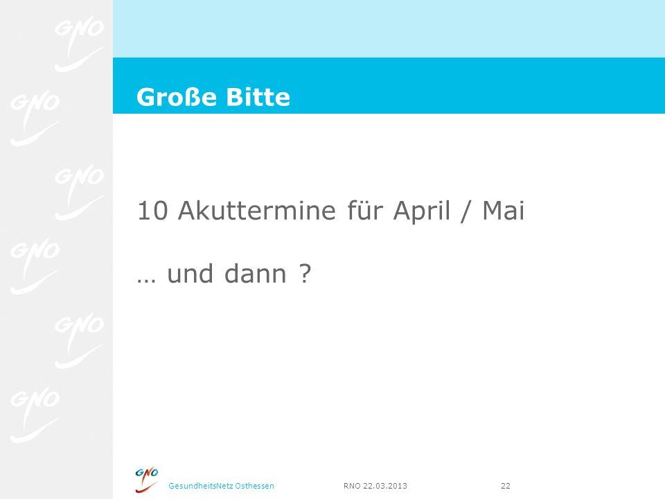 GesundheitsNetz Osthessen RNO 22.03.2013 22 10 Akuttermine für April / Mai … und dann ? Große Bitte